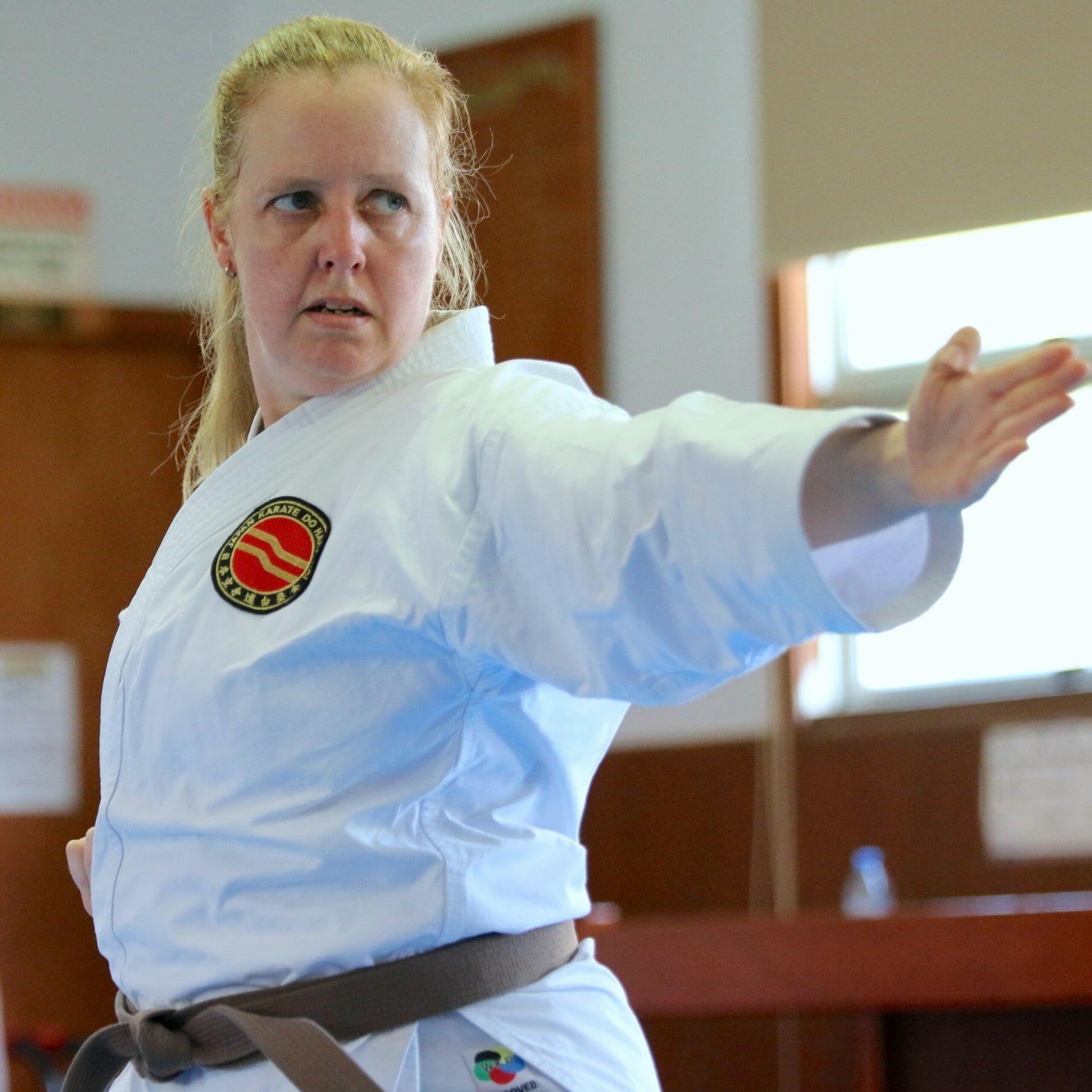 Adult karate student doing kata at the Gold Coast Dojo